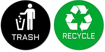 graphic about Recycle Labels Printable called 2 Quality Good quality Trash Recycle Stickers (1 Trash Sticker + 1 Recycle Sticker) for Retain the services of upon Trash Cans Recycle Packing containers; 4\