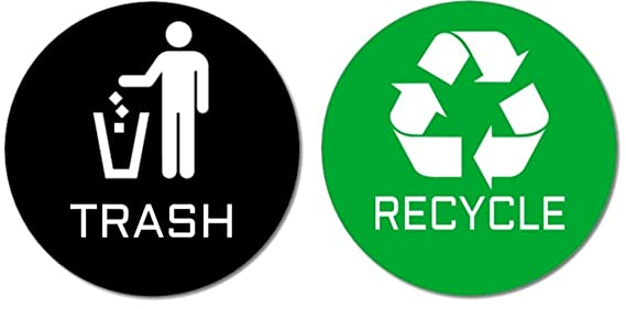 image about Recycling Sign Printable titled 2 Top quality Good quality Trash Recycle Stickers (1 Trash Sticker + 1 Recycle Sticker) for Retain the services of upon Trash Cans Recycle Containers; 4\