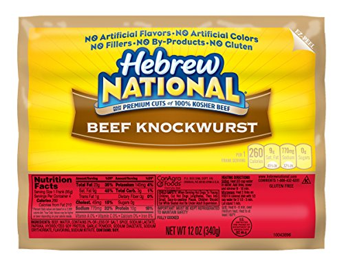 Hebrew National Beef Knockwurst, 12 Ounce, 4 Count