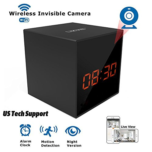 LIZVIE HD Wireless Spy Clock Camera- Auto Night Vision Camera,Motion Detection Invisible Cam,Home Security Monitor Alarm Clock Camera with Speaker (Basic Model)