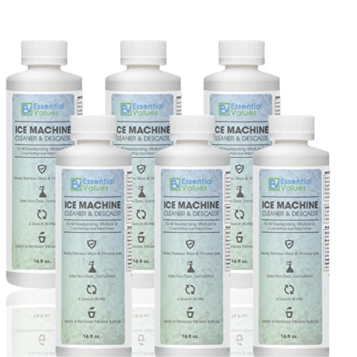 Ice Machine Cleaner (6 PACK / CASE), Nickel Safe Descaler | Scale Remover, Universal Application For Whirlpool 4396808, Manitowac, Ice-O-Matic, Scotsman, Follett Ice Makers By Essential Values, 16OZ