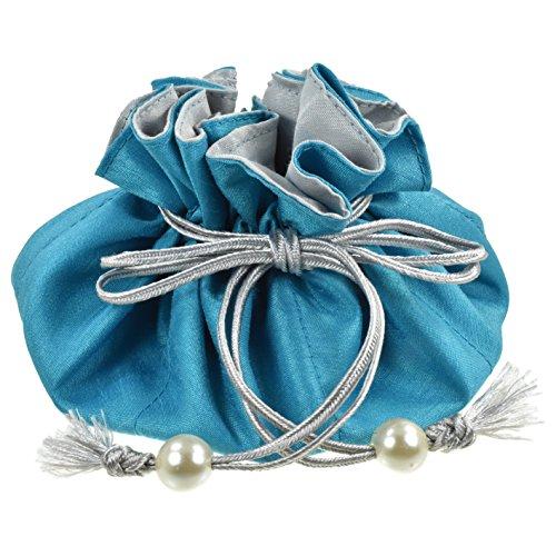 TropicaZona Drawstring Jewelry Pouch, Poly Dupioni Silk, Turquoise + Silver