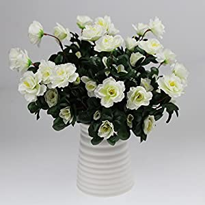 Lopkey Outdoor Artificial Red Azalea Bush White 48