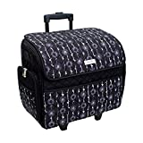 Deluxe Quilted Black & Floral Rolling Sewing Machine Tote - Sewing Machine Case Fits Most Standard Brother & Singer Sewing Machines, Sewing Bag with Wheels & Handle - Portable Sewing Case for Travel