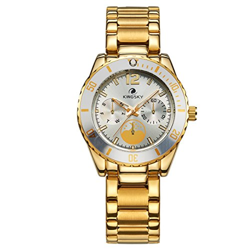 KINGSKY 3ATM Waterproof Watches for Women Men Gold Band Analog Display Japanese Movement Quartz Wrist Watch (Gold White)