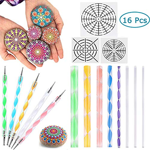 (AUSHEN Mandala Dotting Tools for Painting Rocks,Pen Dotting Tools Mandala Stencil Brush Set 16 PCS Include Mandala Stencils Template, Acrylic Dotting Rods and Double Sided Dotting Tools for Art Crafts)