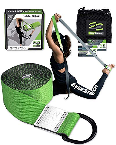 EverStretch Yoga Strap for Stretching Premium Quality 8ft. Adjustable D Ring Belt for Yoga, Pilates, Fitness and Physical Therapy. Designed to be The Most Luxurious Yoga Belt Among Stretch Bands