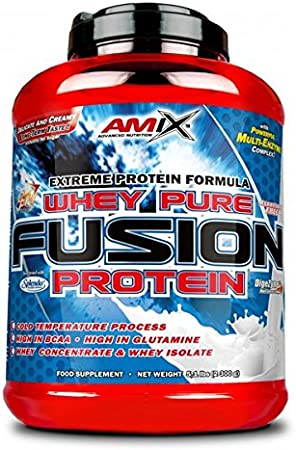 Amix - Proteína Whey Pure Fusion, Ayuda a Tonificar y Aumentar la Masa Muscular, Rica en BCCAs y Glutamina, Fácil Digestión, Baja en Grasas, Proteína ...