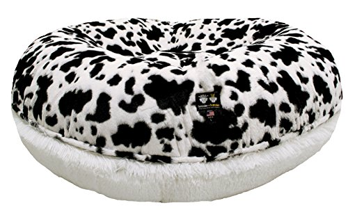 BESSIE AND BARNIE Signature Spotted Pony/Snow White Luxury Shag Extra Plush Faux Fur Bagel Pet/Dog Bed (Multiple Sizes)