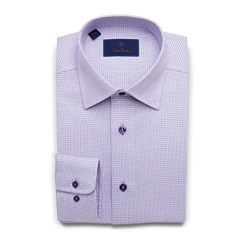 David Donahue Men's Regular Fit Two Tone Mini Basketweave Dress Shirt, Lilac Purple, 15