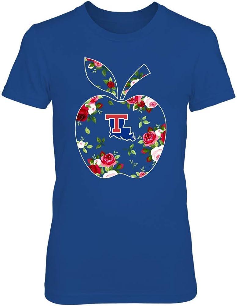FanPrint Louisiana Tech Bulldogs T-Shirt - Teacher - Floral Apple - Team