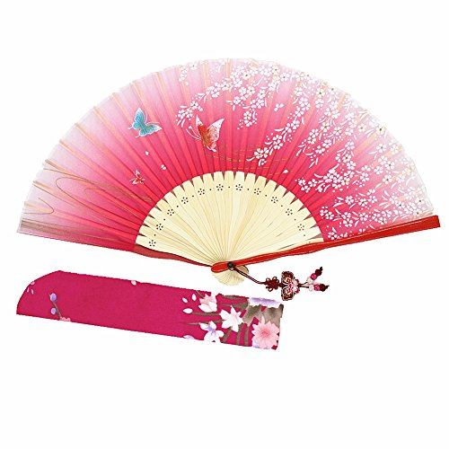 Wise Bird Hand Held Folding Cooling Fan F728 (Design 2034) Japanese Chinese Handheld Silk Breeze Pocket Fan For Women,Outdoor Wedding Party Decorations with Silk Pouch and Embroidery.Gifts for Women by Wise Bird