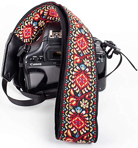 Red Vintage Camera Shoulder Strap Belt for All DSLR Camera - Vibrant Design Universal DSLR Strap, Embroidered Vintage Multi Color Neck Belt for Canon, Nikon, Sony,Pentax, Fujifilm, and Digital Camera