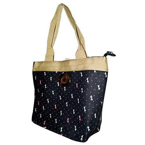 Handbag Bag Vintage Canvas AiSi Black Holiday Bow Button Shoulder Tote Beach 4qFR1TZ