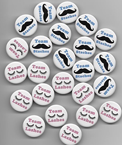 (Team Staches Team Lashes Pink Blue Gender Reveal Boy Girl Baby Shower Party Favor Pin Back Buttons Round Pinback 1-1/2