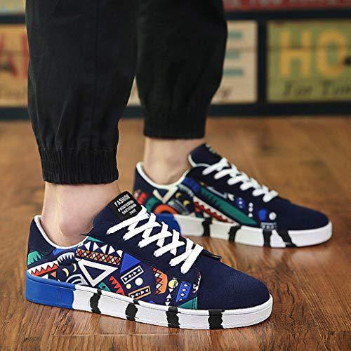 Baskets Graffiti Laçage De Couleurpour La Basses Chaussures Toile Canvas Hommes Sport Sneakers Bleu Mode Adeshop Les Loisirs Confortable Antidérapant PxHYaZ
