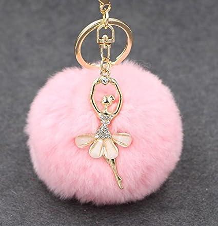 Llavero con diseño de bailarina con diamantes de imitación y pompón suave, creativo, para mujer, de kimberleystore