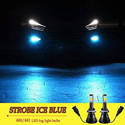 LED 880 881 Fog Lights Bulb Ice Blue 8000K Strobe Flicker Daytime Running Lights DRL Lamps for Trucks Cars Kit Plug Replacement Bulbs 12V 30W 2800LM Super Bright COB Chips 1 Year Warranty【1797】: Automotive
