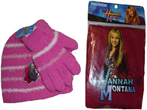 [Girls Rain Poncho Hannah Montana Hat Gloves 3 Piece Winter Set] (Miley Cyrus Disney Costume)