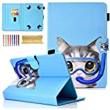 Uliking Uinversal Slim Kickstand Shellskin Case Cover for 9.5-10.5 Inch Tablet, iPad 9.7 Inch, Galaxy Tab S4 10.5 Inch, Diving Cat