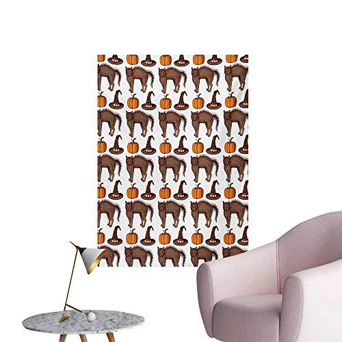 (Anzhutwelve Halloween Art Decor Decals Stickers Seasonal Vintage Pattern with Pumpkin Squash Witch Hats and Cat FiguresBrown Orange Green W24 xL32 Wall)