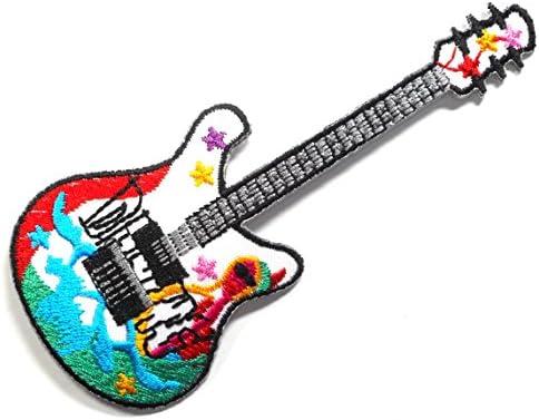 【ノーブランド品】アイロンワッペン ワッペン キュート・ハート 刺繍ワッペン ギター アイロンで貼れるワッペン