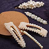 Pearl Hair Clips for Women Girls, 4pcs Large Handmade Bling Hair Pins Ties for Birthday Valentines Day Gifts Headwear