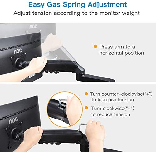Dual Monitor Stand - Height Adjustable Gas Spring Double Arm Monitor Mount Desk Stand Fit Two 17 to 32 inch Screens with Clamp, Grommet Mounting Base, Each Arm Hold as much as 19.8lbs