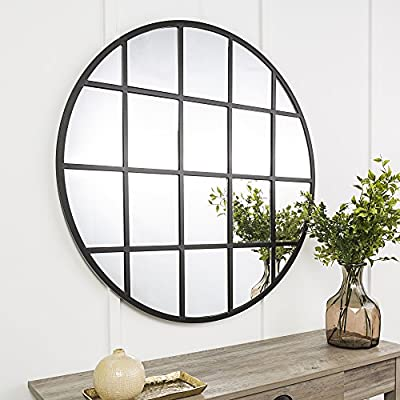 New 40 Inch Round Beveled Window Mirror - Black