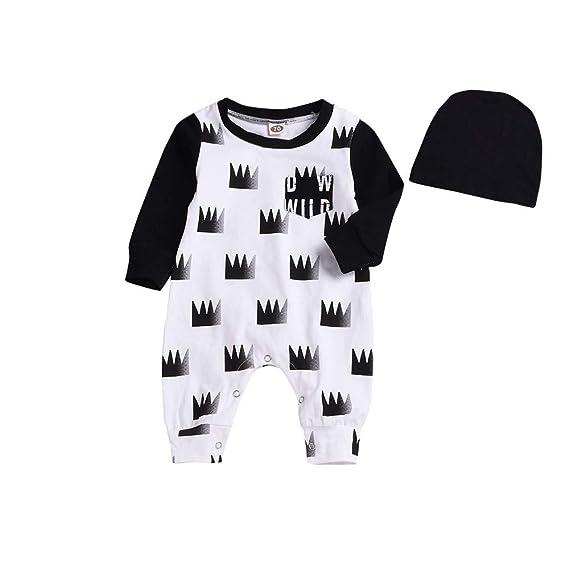 YanHoo Ropa Recién Nacidos Conjunto de una Pieza de Manga Larga para bebé con Corona Conjunto de Ropa para niños Manga Larga Corona Mameluco Mono Traje de ...