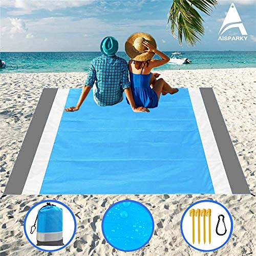 """Beach Blanket, Beach Mat Outdoor Picnic Blanket Large Sand Free Compact for 7 Persons Water Proof And Quick Drying Beach Mat Mady by Premium Nylon Pocket Picnic Sheet For Outdoor Travel ( 78"""" X 81"""")"""