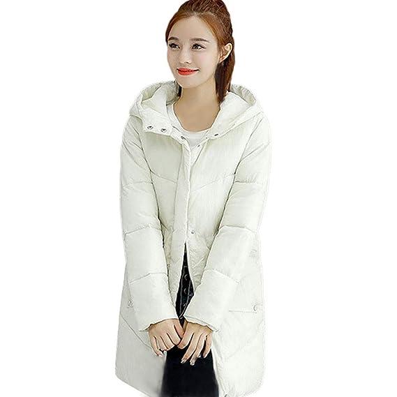 Luckycat Abrigos de Mujer Abrigo de botón con Capucha de Piel Chaquetas de algodón Acolchadas Abrigos