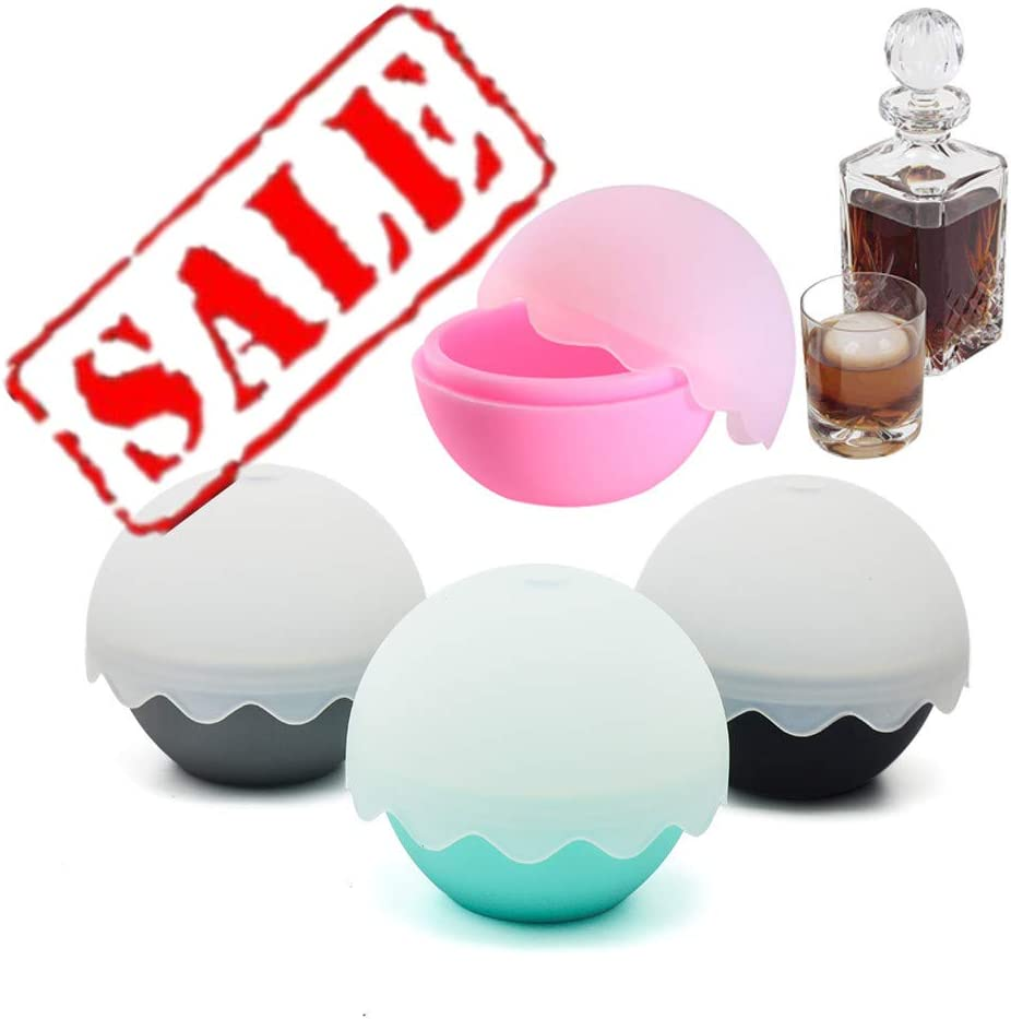 KeepingcooX Ice Ball Mold for Whiskey Accessories - Sphere Ice Mold Creates Large 2.05 Inch Ice Ball - Set of 4 Silicone Molds, Colored Flexible Silicone with Cute Egg Shell & Wave Shape