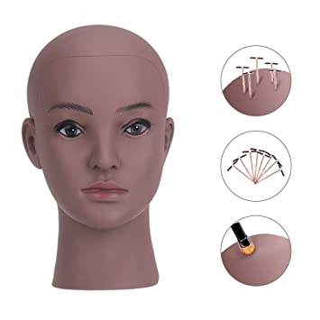 52cm Bald Manikin Head With Black Table Clamp Woman Doll Head For Wig Making Hat Display Maniquin Head Wig Stand Hair Extensions & Wigs Wig Stands