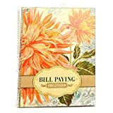 Monthly Bill Paying Organizing Organizer Budget Book with Pockets - Orange Flowers