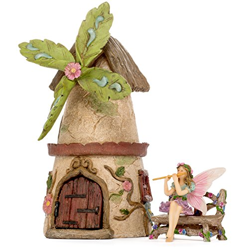 Miniature Figurine (Patio Eden - Fairy Garden House Set - Hand Painted Miniature Figurine Kit - Garden Accessories)