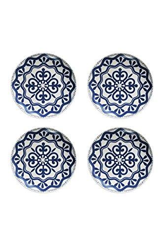 (American Atelier Blue Medallion Set of 4 Ceramic Salad Plates)