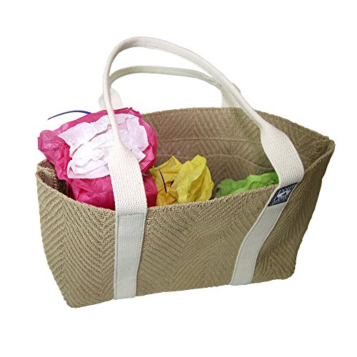 """Handmade Heavy Duty Grocery Ballast Tote Bag By PORT CANVAS - Made of Wood Fiber Trademarked """"Tree Cloth"""" One At A Time in Maine, Beige, USA made in New England"""