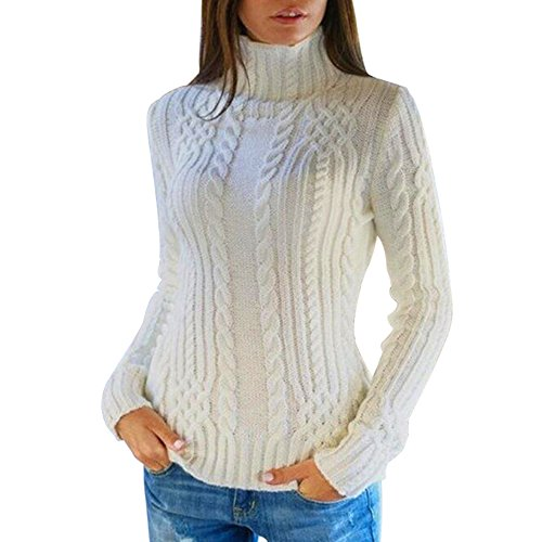 shermie Womens Pullover High Neck Chunky Cable Knit Casual Long Sleeve Sweater