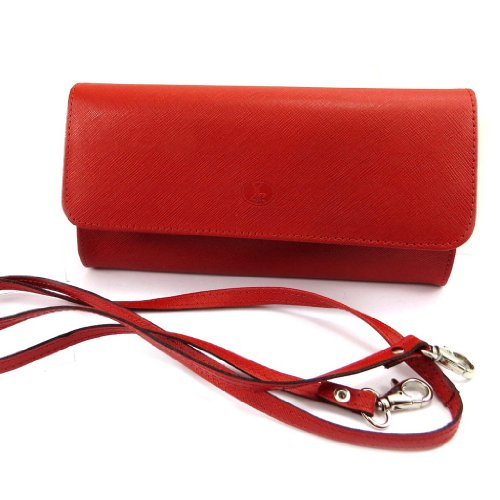 Frandi [K9870] - Sac pochette cuir 'Frandi' rouge (2 soufflets)
