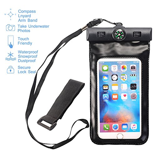 MCUK Universal Waterproof Case for iPhone 6S, 6 Plus, 5S,Galaxy S6, Note 4, LG G4 - Best Water Proof, Dustproof, Snowproof Pouch Bag - Includes FREE Armband + Compass + Lanyard (Black) -