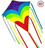 Rainbow Kite/Diamond Kite  Easy Flyer and Assemble, Strong Pull Handle and Line, Single Line and Long Tail Ribbons, the Best Kite for the Beach, Toy for Kids and Adults