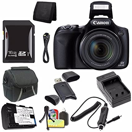 7abb7499d Canon PowerShot SX530 HS Digital Camera (Black) (International Model) + NB-