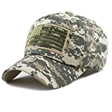 THE HAT DEPOT Low Profile Tactical Operator USA Flag Buckle Cotton Cap (Digital Camo-2)