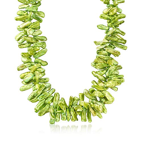 Ross-Simons Green Cultured Baroque Biwa Pearl Necklace in Sterling Silver