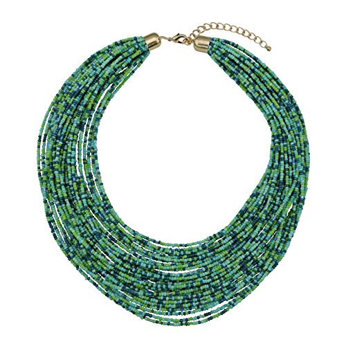 Bocar Multi Layer Chunky Bib Statement Seed Beads Cluster Collar Necklace for Women Gift (NK-10351-aqua Green) ()