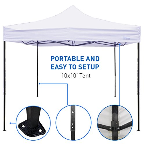 EasyGoProducts EGP-Tent-002-W 10 x10 Tent-Deluxe Instant Easy Pop-Up Frame-Outdoor, White