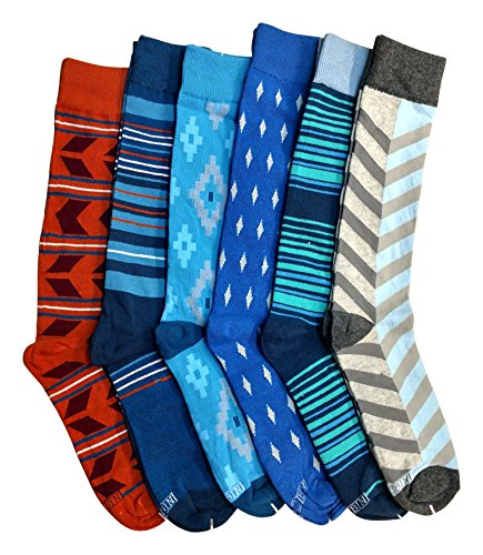 6 Pairs of Cotton Colorful Stripes Patterned Mens Dress Socks Designs Pack B (Crazy Stripe Tights)