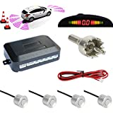 TKOOFN® Universal KFZ Radar Aparcamiento Sensor Alarma Acustica Indicador LUZ Kit LED Marcha Atras (4 Unidades Plata)