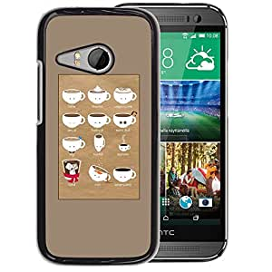 Planetar® ( Barista Cup Brown Caf? ) HTC ONE MINI 2 / M8 MINI Fundas Cover Cubre Hard Case Cover
